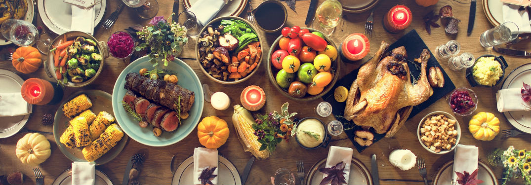 Thanksgiving Dinner with Plenty of Festive Food