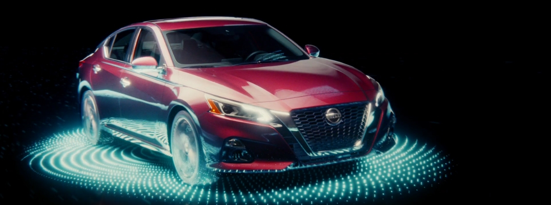 2019 Nissan Altima Front View of Red Exterior in Commercial
