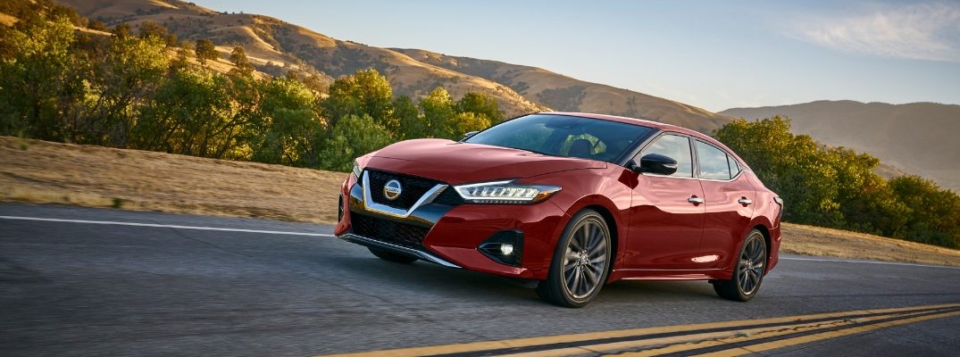 2019 Nissan Maxima Front View of Red Exterior