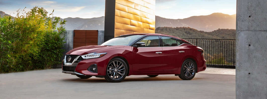 2019 Nissan Maxima Side View of Red Exterior
