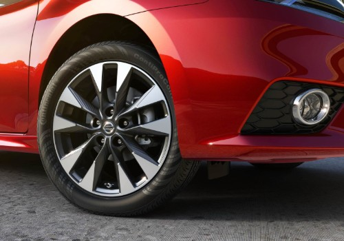 Passenger side wheel and spokes of 2019 Nissan Sentra