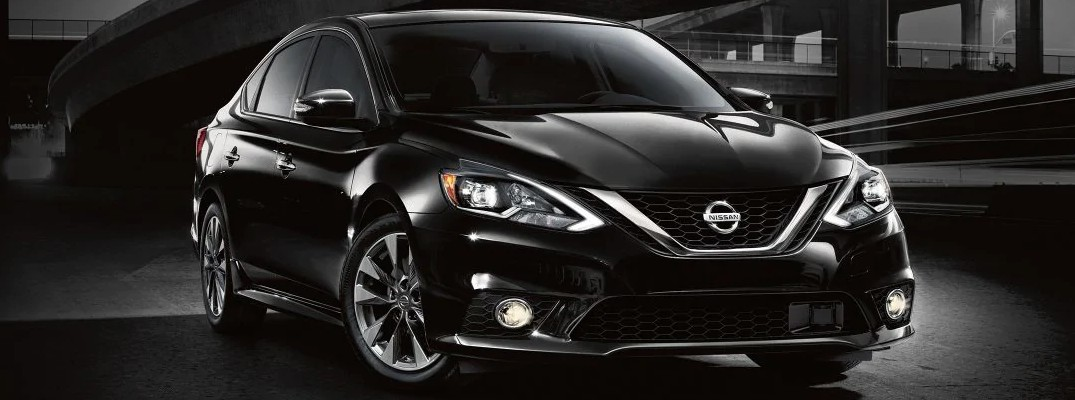 Stylized image of black 2019 Nissan Sentra at night