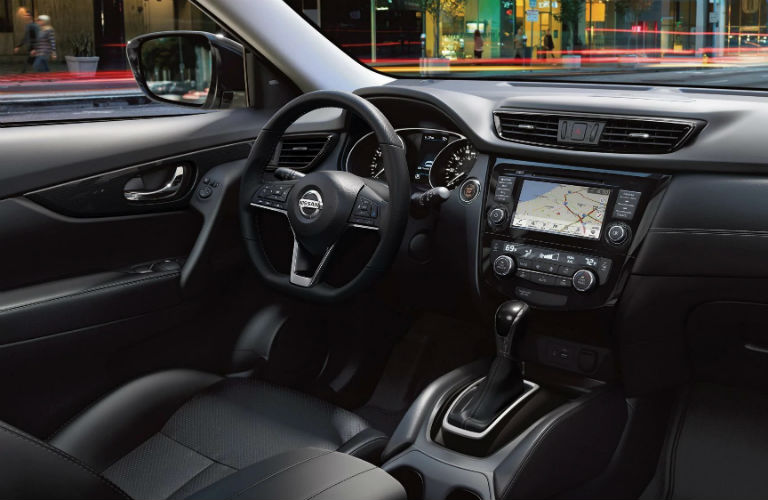 Interior front cabin of a 2019 Nissan Rogue.