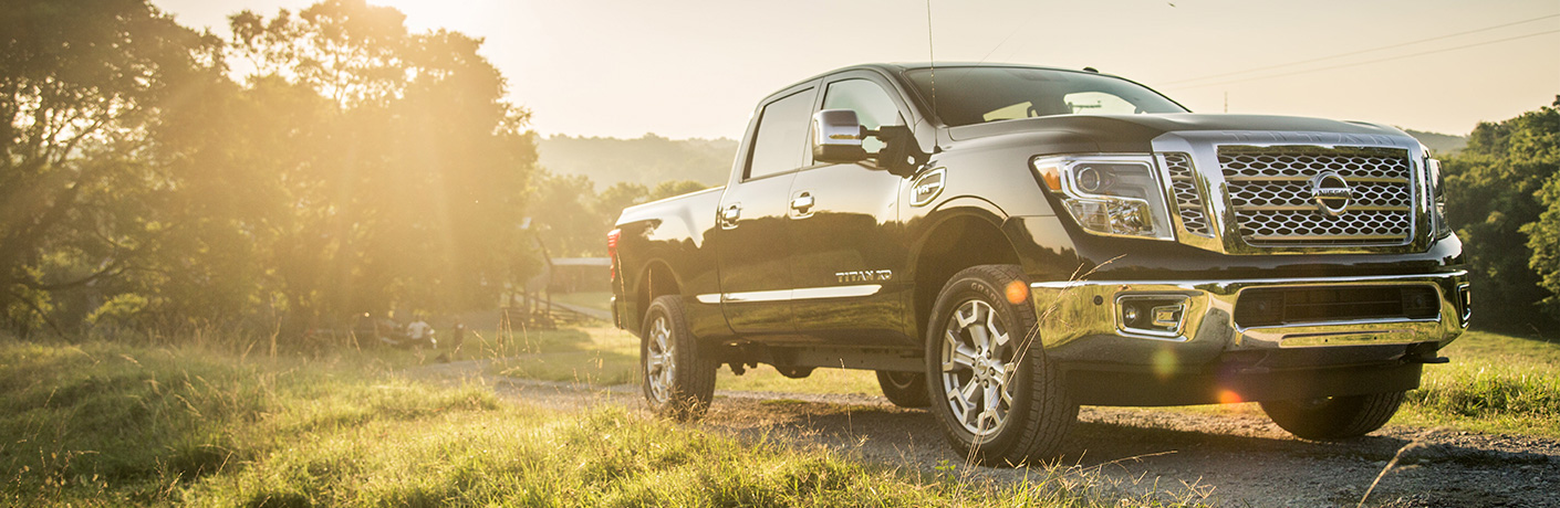 2019 Nissan Titan parked in a rural area