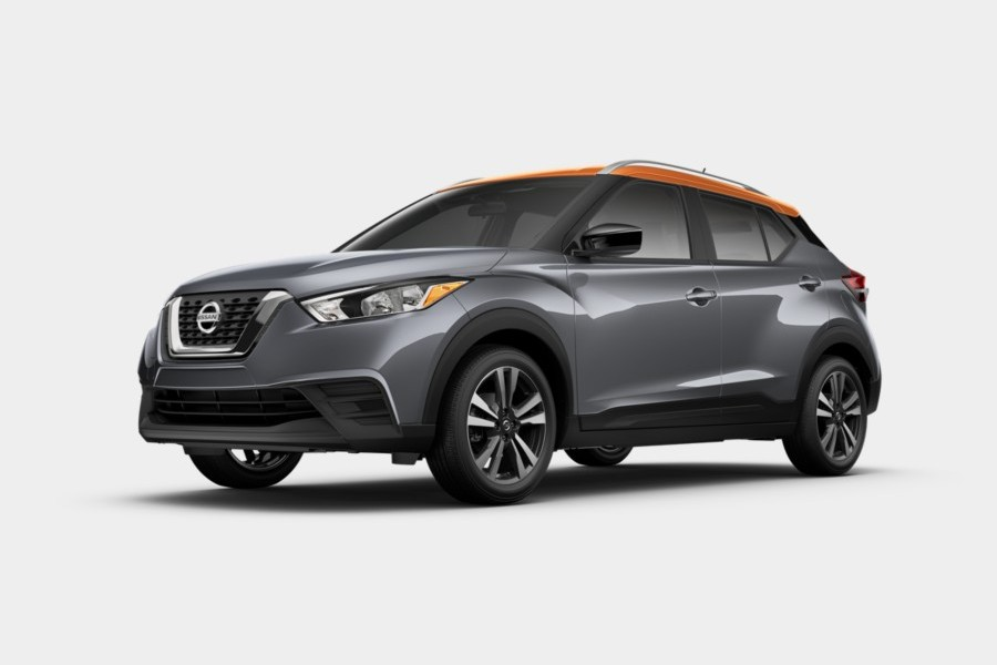2020 Nissan Kicks in Gun Metallic/Monarch Orange Metallic color