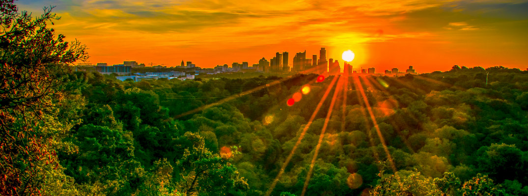 Sunset over the city of Austin, TX,