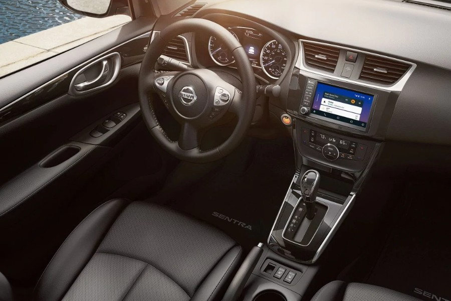 Front interior from aerial passenger angle of the 2019 Nissan Sentra