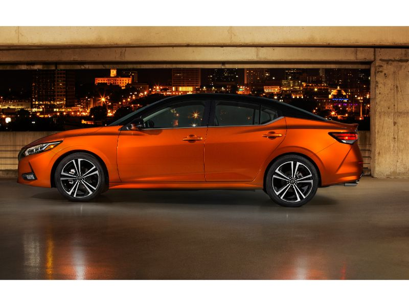 2020 nissan sentra side profile in orange