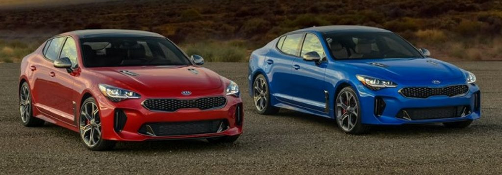2018 kia stinger in hichroma red and blue