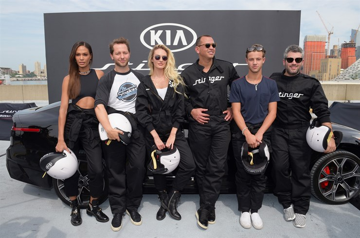 NEW YORK, NY - (L-R) Joan Smalls, Derek Blasberg, Candice Swanepoel, Alex Rodriguez, Cameron Dallas, and Brandon Maxwell put the style and performance of the all-new 2018 Kia Stinger to the ultimate test in New York on September 12, 2017. (Photo by Jason Kempin/Getty Images for Kia Motors)