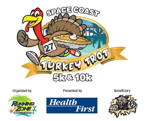 Space Coast Turkey Trot 5K and 10K Logo of a turkey running with a pie
