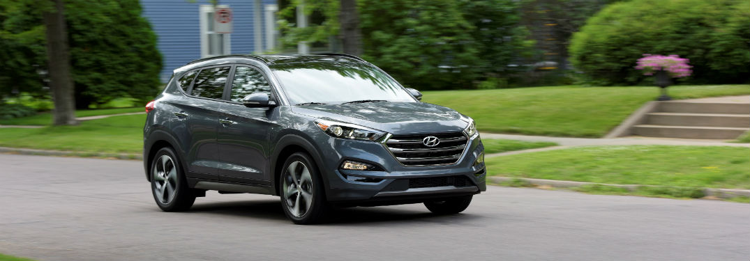 front view of a gray 2018 Hyundai Tucson