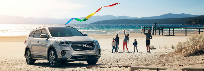 silver 2018 Hyundai Santa Fe parked on the beach