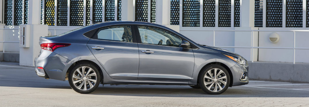 side view of a silver 2018 Hyundai Accent