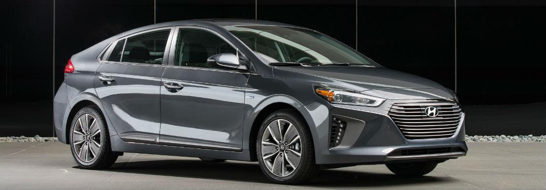 side view of a silver 2018 Hyundai Ioniq