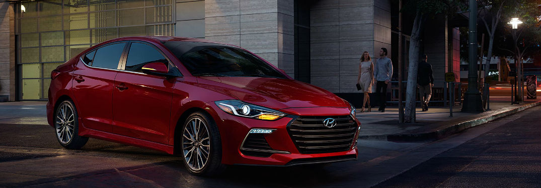 2018 Hyundai Elantra pulling out of a parking lot