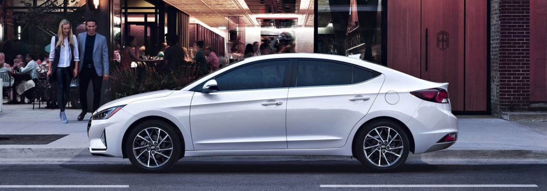 2019 Hyundai Elantra white side view