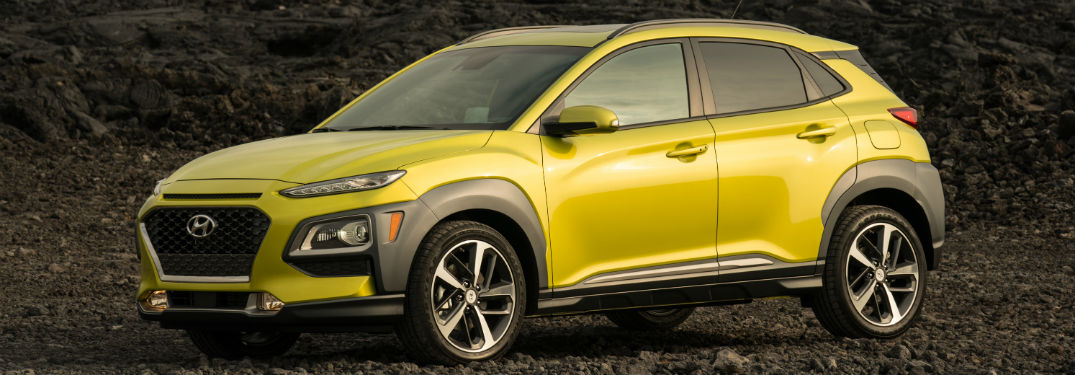 2019 Hyundai Kona exterior front fascia and drivers side on dirt
