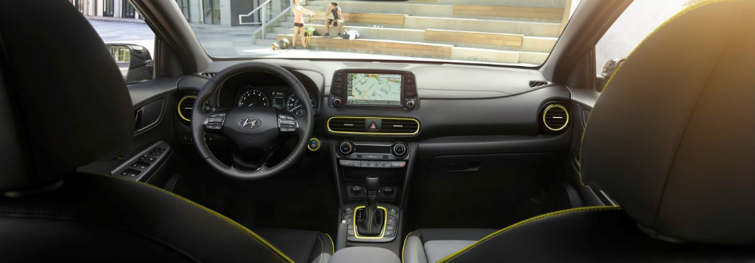 2019 Hyundai Kona interior front cabin steering wheel and dashboard
