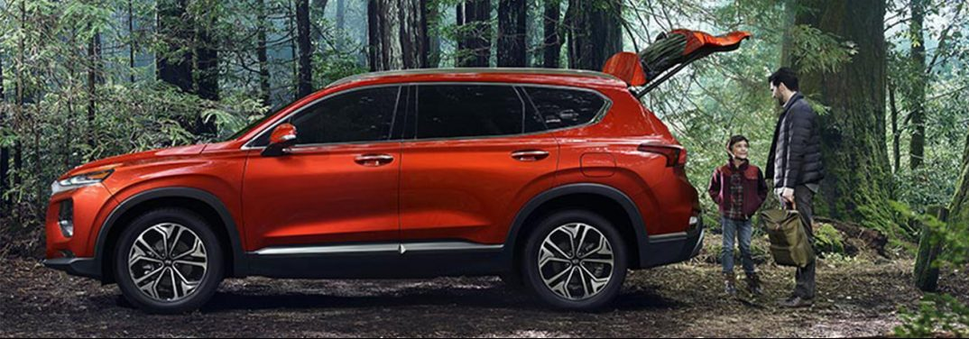 Red 2019 Hyundai Santa Fe exterior side view in a forest. A father and son stand behind the vehicle with the lift gate open.