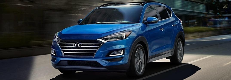 2019 Hyundai Tucson blue front view