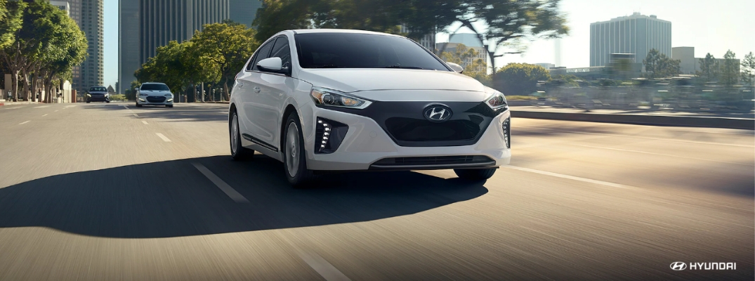 White 2019 Hyundai Ioniq Electric Driving
