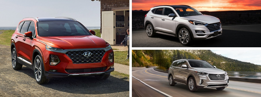 Collage of red 2019 Hyundai Santa Fe, silver 2019 Hyundai Santa Fe XL, and white 2019 Hyundai Tucson