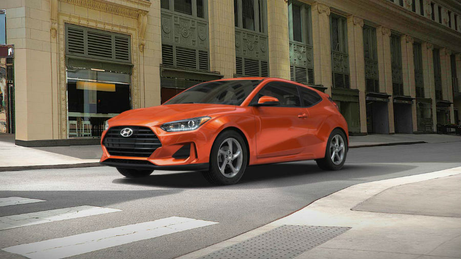 2019 Hyundai Veloster Exterior Driver Side Front Profile Sunset Orange