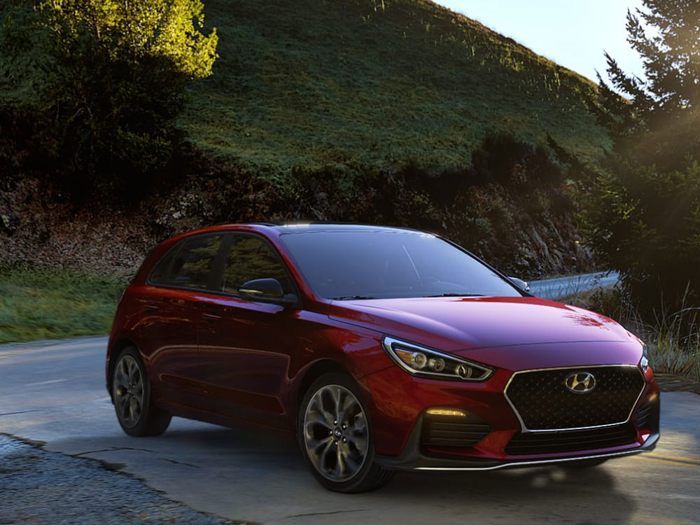 2019 Hyundai Elantra GT Exterior Passenger Side Front Profile in Scarlet Red Pearl