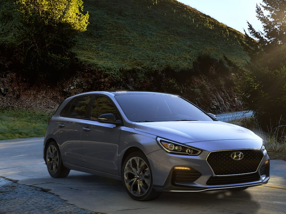 2019 Hyundai Elantra GT Exterior Passenger Side Front Profile in Symphony Air Silver