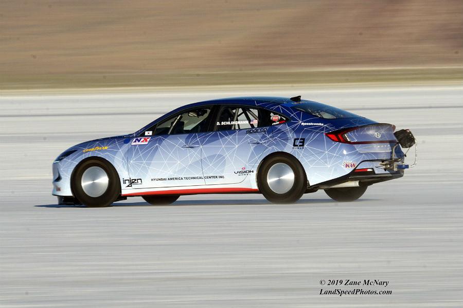 2020 Hyundai Sonata Hybrid Land Speed Record Attempt Concept Exterior Driver Side Rear Profile