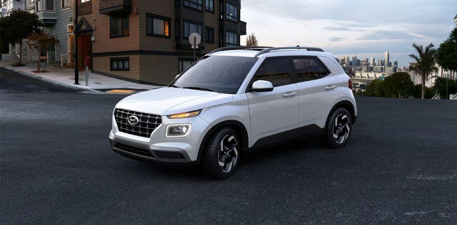 2020 Hyundai Venue Exterior Driver Side Front Profile in Ceramic White
