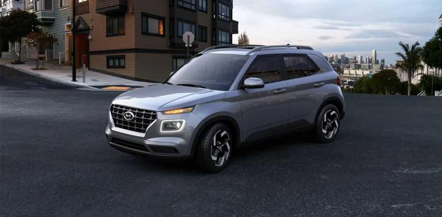 2020 Hyundai Venue Exterior Driver Side Front Profile in Galactic Gray