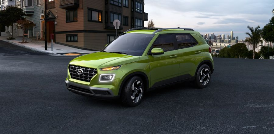 2020 Hyundai Venue Exterior Driver Side Front Profile in Green Apple