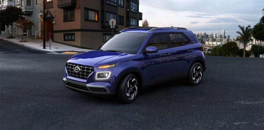 2020 Hyundai Venue Exterior Driver Side Front Profile in Intense Blue