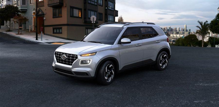 2020 Hyundai Venue Exterior Driver Side Front Profile in Stellar Silver