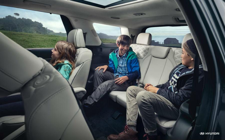 2020 Hyundai Palisade Interior Cabin Rear Seating with Family