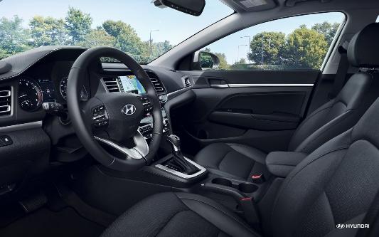 Interior front cabin of a 2020 Hyundai Elantra.