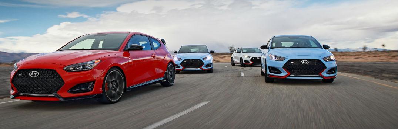 Multiple 2020 Hyundai Veloster N Models on Racetrack