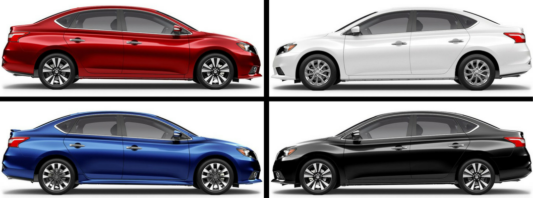 2018 Nissan Sentra Color Options Banner with Red, White, Blue, and Black Paints from Side View