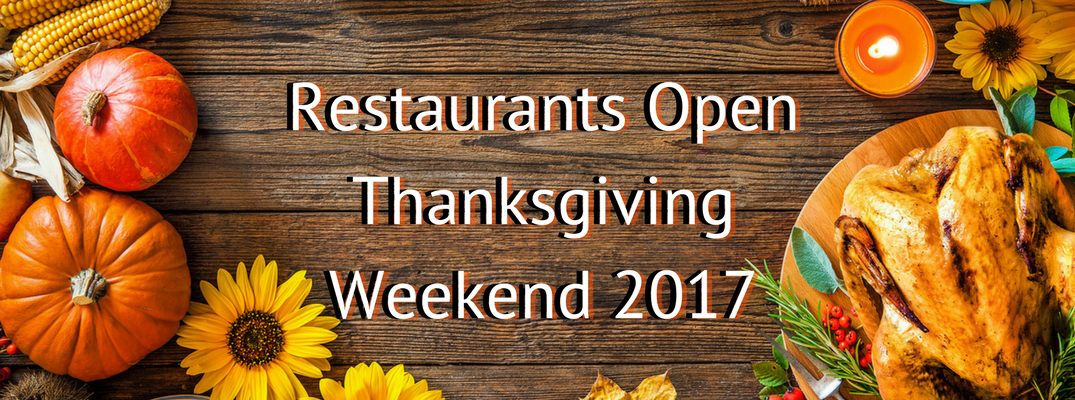 """Restaurants Open Thanksgiving Weekend Banner"" with wooden background framed by seasonal produce."