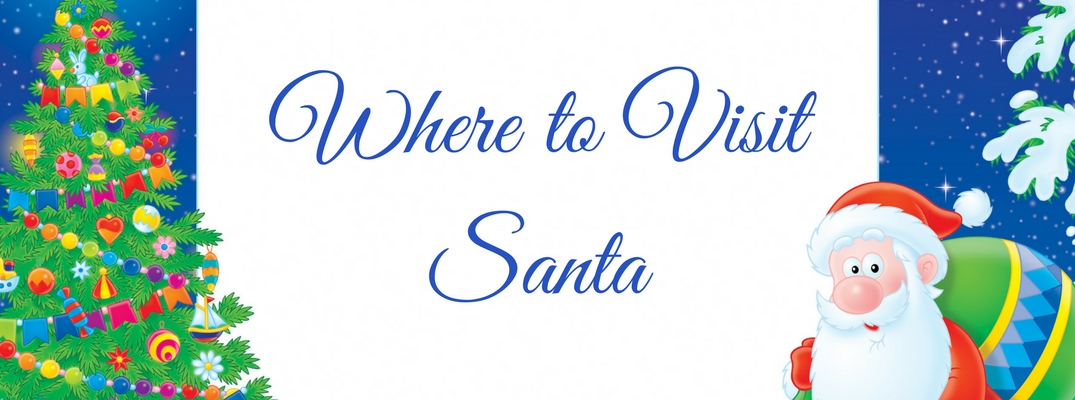 Where to Visit Santa text with Cartoon Santa and Xmas tree in background