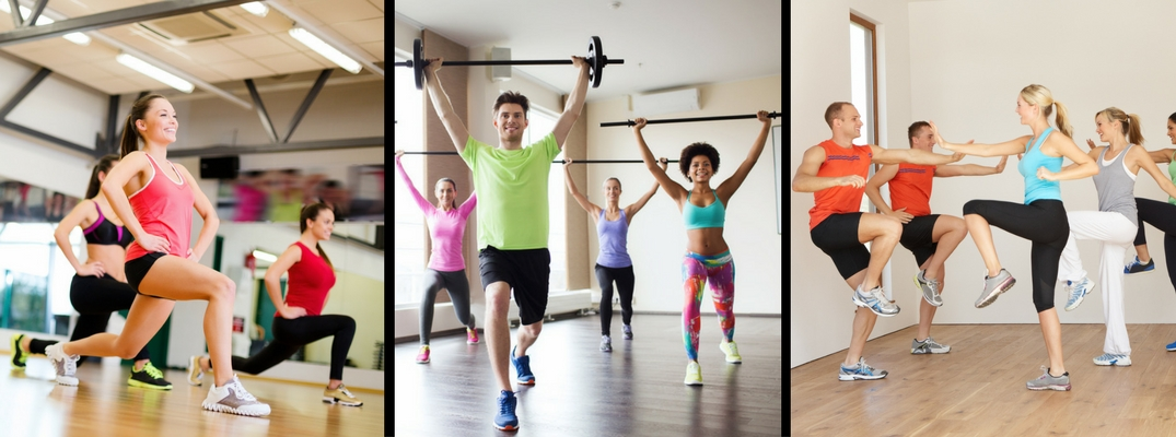 Three Groups of People Doing Various Exercises