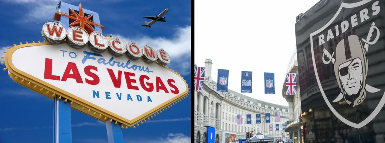 Las Vegas sign opposite Raiders emblem