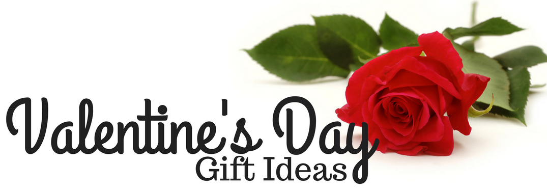 Valentine's Day Gift Ideas with a red rose in background