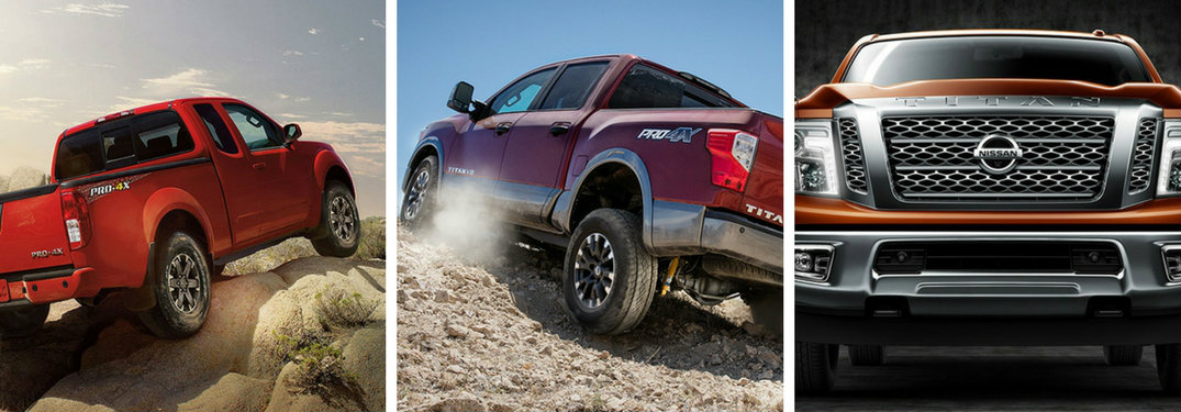 side by side images of the 2018 Nissan Frontier, 2018 Nissan TITAN, and 2018 Nissan TITAN XD