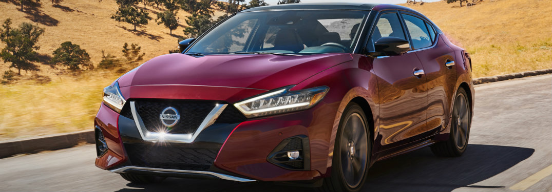 close view of the 2019 Nissan Maxima on the road