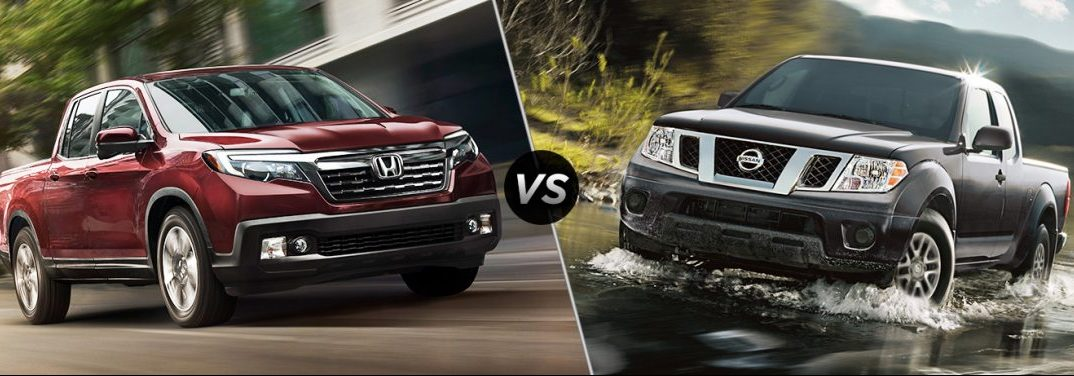 "Red 2019 Honda Ridgeline and black 2019 Nissan Frontier, separated by a diagonal line and a ""VS"" logo."