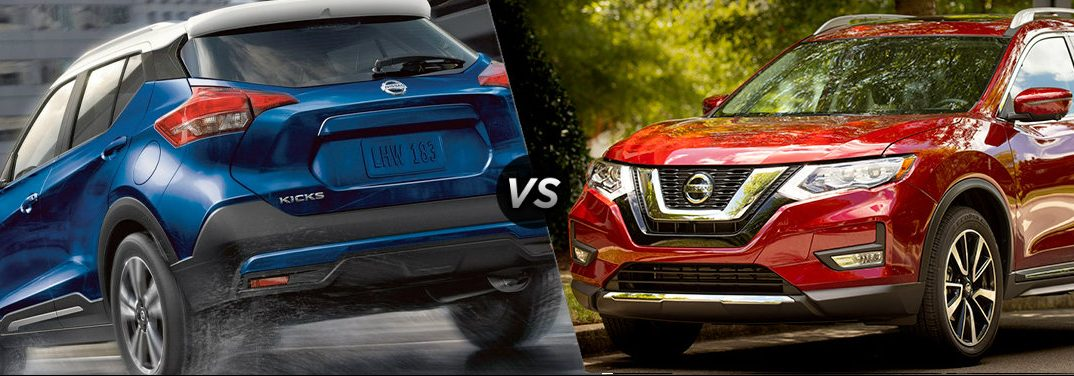 """A blue 2019 Nissan Kicks drives down a rain-slicked road. A red 2019 Nissan Rogue is parked in a leafy suburb. The two vehicles are separated by a diagonal line and a """"VS"""" logo."""