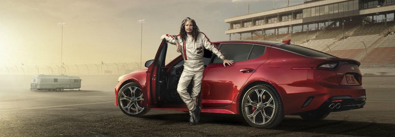 ... Steven Tyler Posing On Racetrack With 2018 Kia